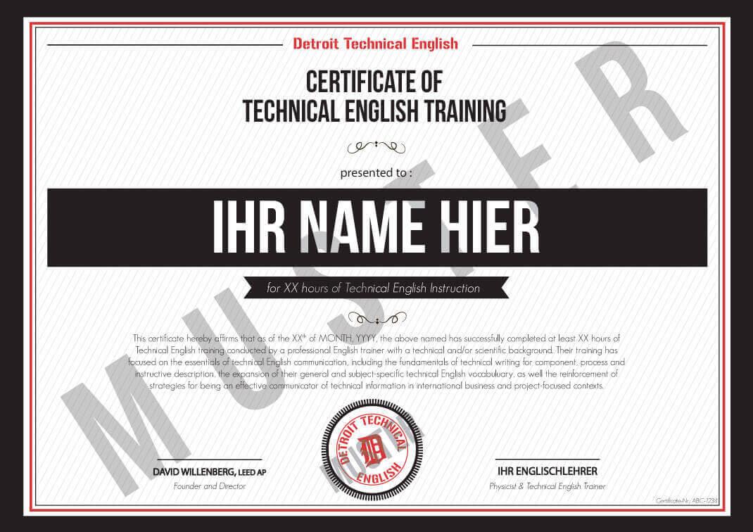 DTE-Zertifikat für technisches Englisch Training